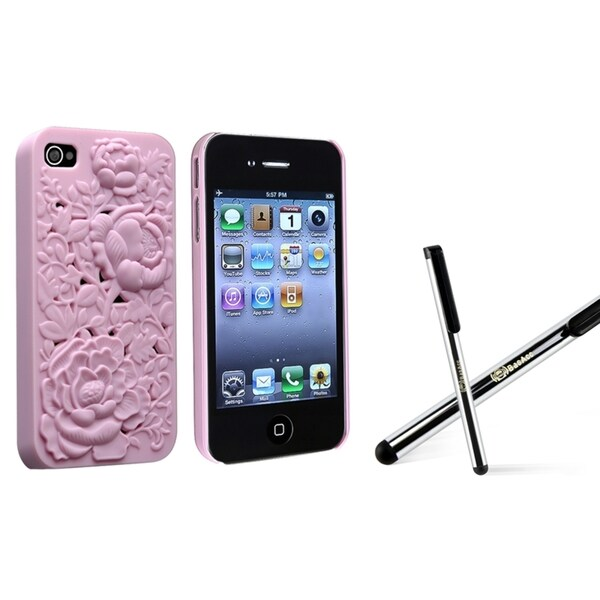 INSTEN Pink 3D Rose Phone Case Cover/ Silver Stylus for Apple iPhone 4/ 4S