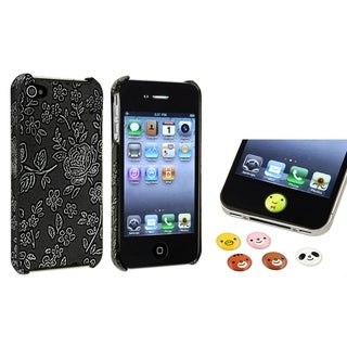 BasAcc Embossed Case/ HOME Button Sticker for Apple iPhone 4/ 4S