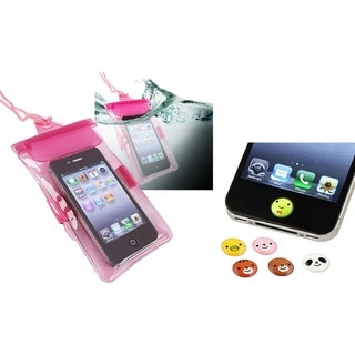 BasAcc Waterproof Bag/ HOME Button Stickers for Apple iPhone 4/ 4S