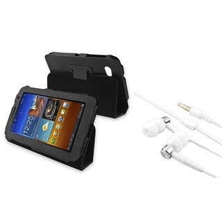 BasAcc Black Leather Case/ Headset for Samsung Galaxy Tab 7.0