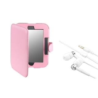 BasAcc Pink Leather Case/ Headset for Barnes & Noble Nook 2