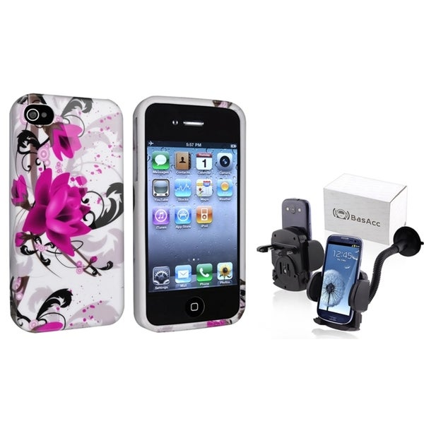 INSTEN White/ Purple TPU Case Cover/ Phone Holder for Apple iPhone 4/ 4S