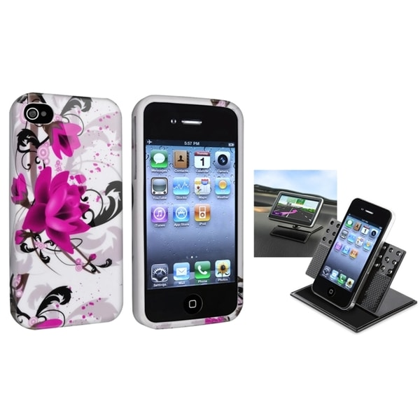 BasAcc White/ Purple TPU Case/ Phone Holder for Apple iPhone 4/ 4S