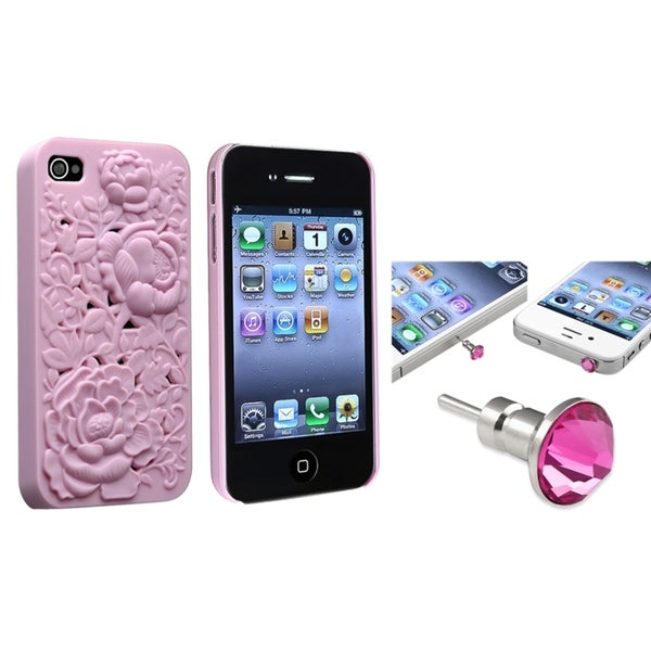 INSTEN Snap-on Phone Case Cover/ Pink Diamond Dust Cap for Apple iPhone 4/ 4S