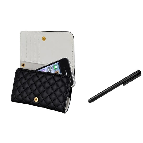 INSTEN Black Leather Phone Case Cover/ Stylus for Apple iPhone 4/ 4S