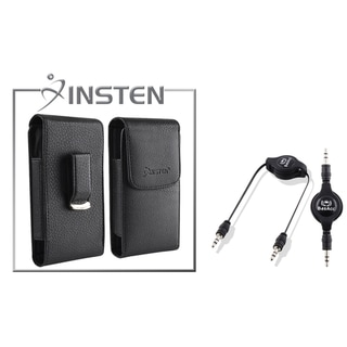 INSTEN Black Leather Case/ Black Audio Cable for Apple iPhone 4/ 4S