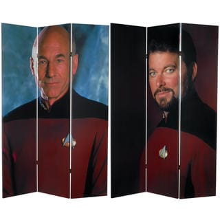6 ft. Tall Double Sided Star Trek Picard and Riker Canvas Room Divider
