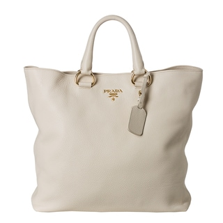 Prada 'Daino' Pebbled Cream Leather Tote Bag