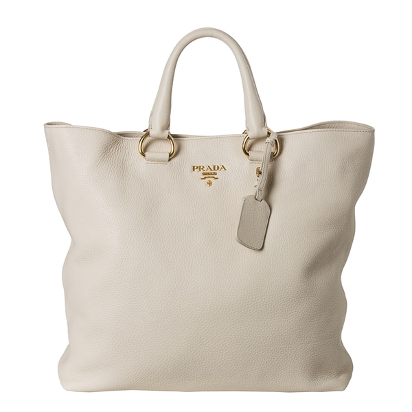 Prada \u0026#39;Daino\u0026#39; Pebbled Cream Leather Tote Bag - 15052075 ...