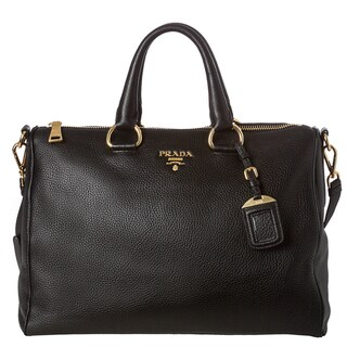 Prada 'Vitello Daino' Pebbled Black Leather Satchel