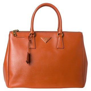 Prada Lux Orange Saffiano Leather Double-zip Tote Bag