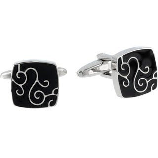 Black Ion-plated Stainless Steel Men's Cuff Links