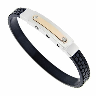Rose Ion-plated Stainless Steel and Rubber Men's Bracelet