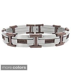 Plated Stainless Steel Men's Cable Detail Link Bracelet