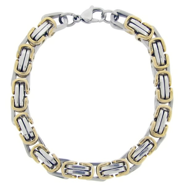 Gold Ion-plated Stainless Steel Men's Link Bracelet