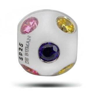 De Buman Sterling Silver Multicolor Cubic Zirconia Charm Bead