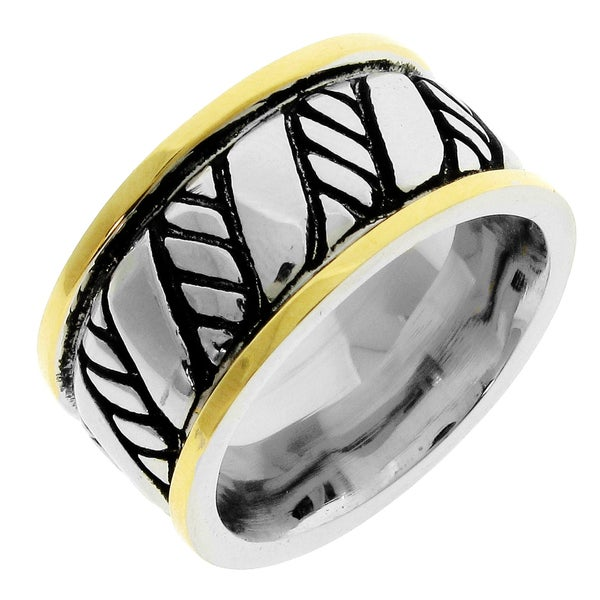 Stainless Steel Men's Gold Ion-plated Edge Detail Band