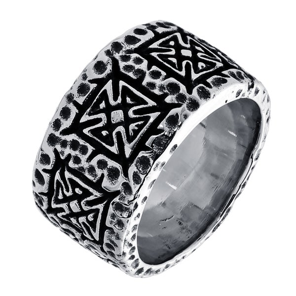 Madison Park Stainless Steel Men's Textured and Black Ion-plated Band