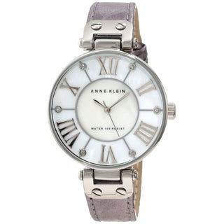 Silver Anne Klein Women's Stainless-Steel Leather Strap Watch