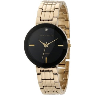 Anne Klein Women's Stainless Steel Gold Brass-Plated Watch with Black Dial