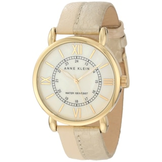 Anne Klein Women's Stainless Steel Leather Strap Watch