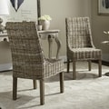 Safavieh Suncoast Unfinished Natural Wicker Arm Chairs (Set of 2)