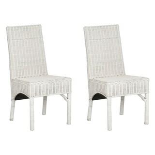 Safavieh Rural Woven Dining Sommerset White Kubu Wicker Dining Chairs (Set of 2)