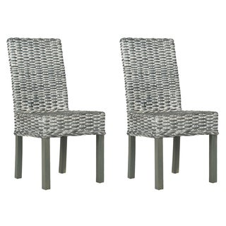 Safavieh Wheatley Grey Washed Wicker Side Chairs (Set of 2)