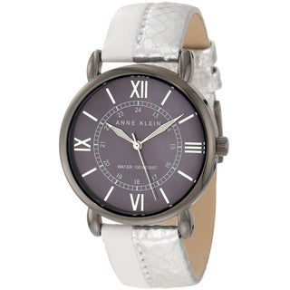 Anne Klein Women's Stainless-Steel Calfskin Leather Strap Watch