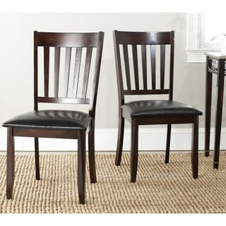 Safavieh Harvey Black Leather Side Chairs (Set of 2)