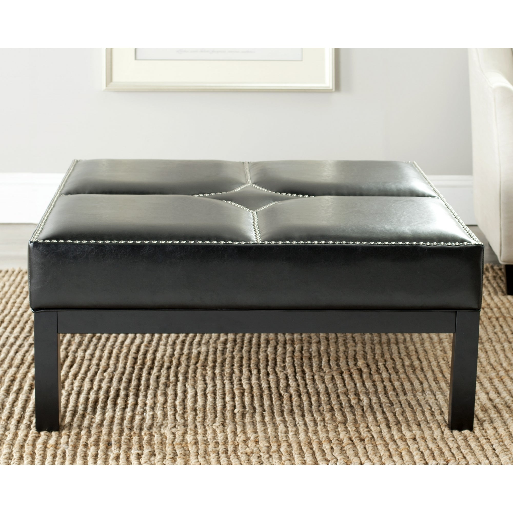 Black ottoman leather table coffee footrest and 50 similar items bonanza Black ottoman coffee table