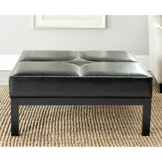 Safavieh Terrence Black Leather Cocktail Ottoman