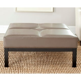 Safavieh Terrence Clay Grey Leather Cocktail Ottoman