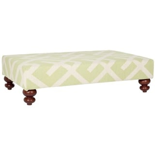 Safavieh Cross Hatch Light Green Dhurrie Rug Ottoman