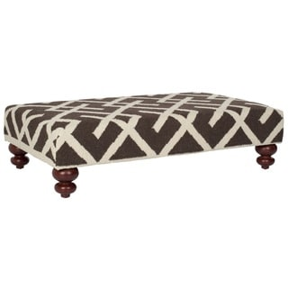 Safavieh Cross Hatch Black Dhurrie Rug Ottoman