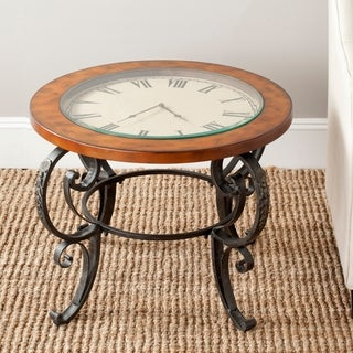 Safavieh Linda Clock Top Dark Brown Side Table