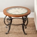 Linda Clock Top Dark Brown Side Table