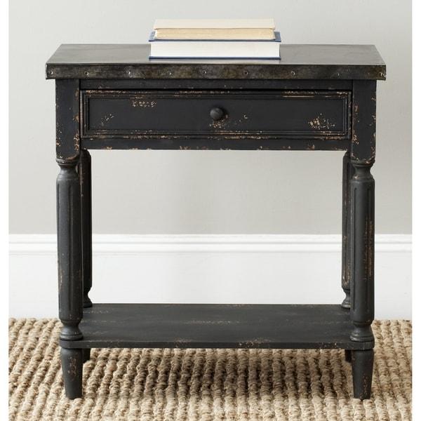 Safavieh John Antiqued Black Side Table