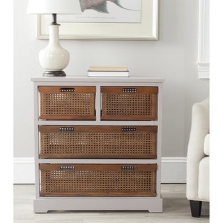 Safavieh Jackson Grey 4-drawer Wicker Basket Storage Unit