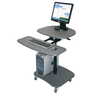 Luxor Hydraulic Adjustable Media Grey Computer Cart