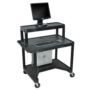Luxor Black LEM32T-B 3-shelf Computer Work Station