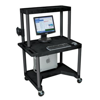 Luxor Black LEM32TT-B 3 Shelf Computer Work Station