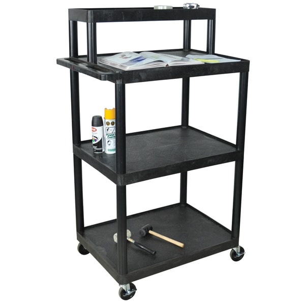 Luxor Black LTIM-B Industrial/ Warehouse 4-shelf Plastic Work Station