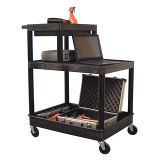 Luxor Black Three-shelf Plastic Utility Cart
