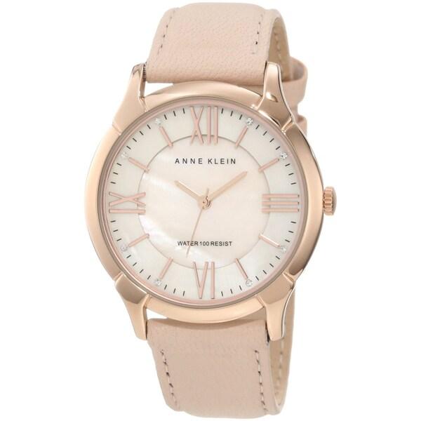 Anne Klein Women's Stainless Steel Pink Leather Strap Watch