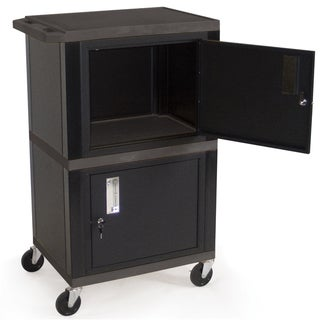 H Wilson WT50B Black Double Cabinet Utility Cart
