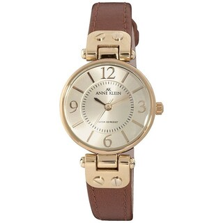 Anne Klein Women's Stainless-Steel Genuine Leather Strap Watch
