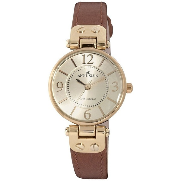 Anne klein women 39 s stainless steel genuine leather strap watch 15052300 overstock shopping for Anne klein leather strap