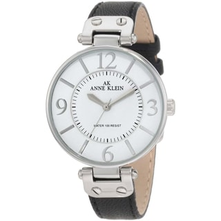 Anne Klein Black Women's Stainless-Steel Leather Strap Watch