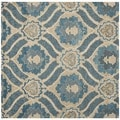 Safavieh Contemporary Handmade Wyndham Blue New Zealand Wool Rug (7' Square)